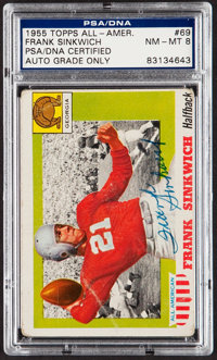 Signed 1955 Topps Frank Sinkwich #69 PSA/DNA Auto NM-MT 8