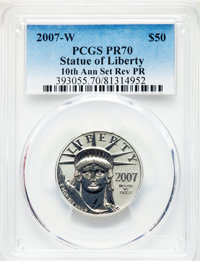 2007-W $50 Half-Ounce Platinum Eagle, Reverse Proof, 10th Anniversary PR70 PCGS. PCGS Population: (732). NGC Census: (0)...