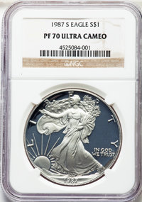 1987-S $1 Silver Eagle PR70 Ultra Cameo NGC. NGC Census: (1440). PCGS Population: (2048). ...(PCGS# 9809)