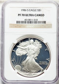 Modern Bullion Coins, 1986-S $1 Silver Eagle PR70 Ultra Cameo NGC. NGC Census: (3345). PCGS Population: (3376). ...