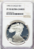 Modern Bullion Coins, 1992-S $1 Silver Eagle PR70 Ultra Cameo NGC. NGC Census: (1430). PCGS Population: (1462). ...