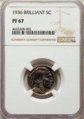 Proof Buffalo Nickels, 1936 5C Type Two -- Brilliant Finish PR67 NGC....