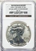 Modern Bullion Coins, 2006-P $1 Reverse Proof Silver Eagle, 20th Anniversary, PR70 NGC. Ex: Silver Dollar Set. NGC Census: (11330). PCGS Populati...