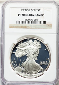 1988-S $1 Silver Eagle PR70 Ultra Cameo NGC. NGC Census: (1536). PCGS Population: (1767). ...(PCGS# 9817)