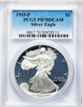 Modern Bullion Coins, 1993-P $1 Silver Eagle PR70 Deep Cameo PCGS. PCGS Population: (971). NGC Census: (1072). ...