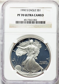 1990-S $1 Silver Eagle PR70 Ultra Cameo NGC. NGC Census: (2385). PCGS Population: (3238). ...(PCGS# 9837)