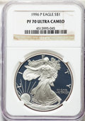 Modern Bullion Coins, 1996-P $1 Silver Eagle PR70 Ultra Cameo NGC. NGC Census: (1354). PCGS Population: (1894). ...