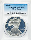 Modern Bullion Coins, 1998-P $1 Silver Eagle PR70 Deep Cameo PCGS. PCGS Population: (2359). NGC Census: (2199). ...