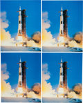 Explorers:Space Exploration, Buzz Aldrin Signed Large Apollo 11 Launch Color Photos (Four) Originally from His Personal Collection....