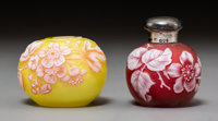 Two Thomas Webb-Style Cameo Glass Cabinet Articles Late 19th-early 20th century. Stamped to stopper (lion passant)