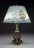 Lighting:Lamps, Pairpoint Gilt Bronze and Reverse Painted Glass Nautical Lamp. Circa 1915. Shade stenciled The Pairpoint Corp....