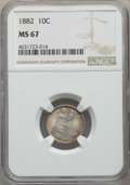 1882 10C MS67 NGC. NGC Census: (27/2). PCGS Population: (15/0). MS67. Mintage 3,910,000. ...(PCGS# 4690)
