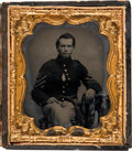 Military & Patriotic:Civil War, Civil War: Bold Sixth Plate Tintype of First Sergeant....