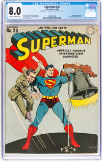 Superman #26 Double Cover (DC, 1944) CGC VF 8.0 Off-white to white pages