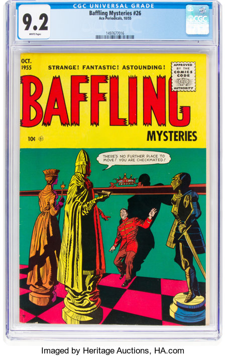 Baffling Mysteries #26 (Ace, 1955) CGC NM- 9.2 White pages....