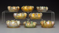 Glass, Eight Tiffany Studios Gold Favrile Glass Salts. Circa 1910. Engraved L.C.T.. Ht. 1-1/8 in.. ... (Total: 8 Items)