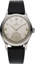 Timepieces:Wristwatch, Zenith, Rare and Fine Caliber 135 Chronometre, Stainless Steel,Manual Wind, Circa 1950s . ...