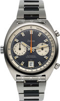 Timepieces:Wristwatch, Zodiac/Heuer Carrera, Rare Ref. 1153 Automatic Chronograph withFactory-Overpainted Dial, Stainless Steel, Circa 1969...