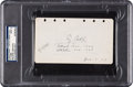 Autographs:Others, 1929 Ty Cobb Signed & Notated Album Page, PSA/DNA Mint 9....