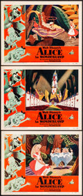 "Movie Posters:Animation, Alice in Wonderland (RKO, 1951). Folded, Fine/Very Fine. LobbyCards (3) (11"" X 14""). Animation.. ... (Total: 3 Ite..."