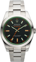 Timepieces:Wristwatch, Rolex Unused Ref 116400GV Steel Oyster Perpetual Green glassMilgauss. ...