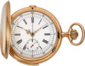 Timepieces:Pocket (post 1900), A. Lugrin Swiss 14k Gold Quarter Hour Repeater With Chronograph. ...