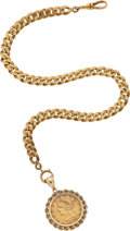 Timepieces:Watch Chains & Fobs, Watch Chain 18k Gold With $5 Liberty Coin Fob. ...