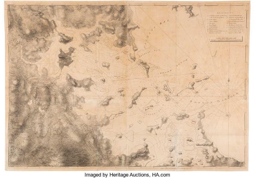 Map]. Joseph F.W. Des Barres. A chart of the harbor of Boston ... on