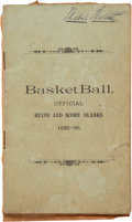 """Basketball Collectibles:Publications, 1895-96 """"Basket Ball Official Rules"""" Book from The Mabel Welton Collection...."""