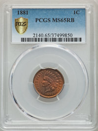 1881 1C MS65 Red and Brown PCGS Gold Shield. PCGS Population: (124/11). NGC Census: (109/26). CDN: $425 Whsle. Bid for p...
