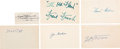 Baseball Collectibles:Others, 1920's-'40's Hall of Famers Signed Index Cards Lot of 6. ...