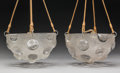 Glass, Pair of R. Lalique Frosted and Clear Glass Soleil Ceiling Lamps. Designed 1926. Engraved R. LALIQUE, FRANCE. ... (Total: 2 Items)