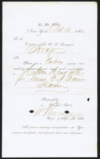 QUARTERMASTER'S DOCUMENT FOR PASSAGE OF A TEACHER FROM NEW YORK CITY TO HILTON HEAD SOUTH CAROLINA