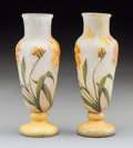 Glass, Pair of Daum Cameo Glass Cabinet Vases. Circa 1900. Molded DAUM, NANCY, (Cross of Lorraine), FRANCE. Ht. 6-3/4 in. (... (Total: 2 Items)