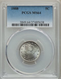 1888 5C MS64 PCGS. PCGS Population: (193/110). NGC Census: (126/57). CDN: $500 Whsle. Bid for problem-free NGC/PCGS MS64...