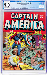 Captain America Comics #2 (Timely, 1941) CGC VF/NM 9.0 Off-white to white pages