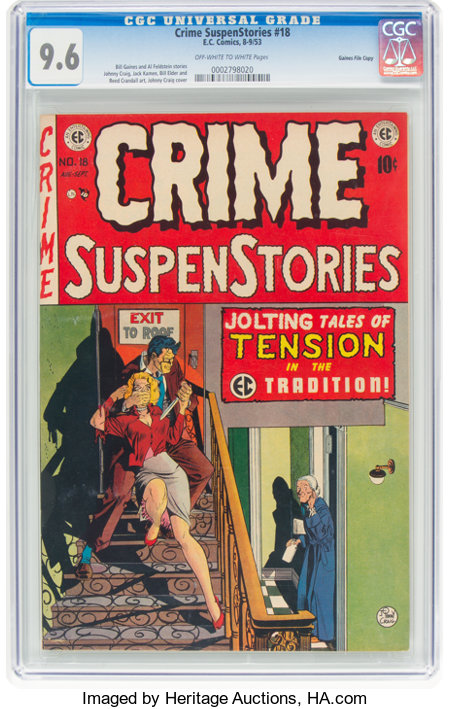 Crime SuspenStories #18 Gaines File Pedigree 6/12 (EC, 1953) CGC NM+ 9.6 Off-white to white pages....