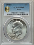 Eisenhower Dollars, 1972-S $1 SILVER MS68 PCGS Gold Shield. PCGS Population: (2073/25). NGC Census: (465/5). CDN: $75 Whsle. Bid for problem-fr...