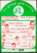 Miscellaneous Collectibles:General, Circa 1973 Lutte Grand Prix Wrestling Promotion Poster with Andre the Giant as Giant Jean Ferre. ...