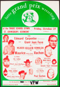 Miscellaneous Collectibles:General, 1973 Lutte Grand Prix Wrestling Promotion Poster with Andre the Giant as Giant Jean Ferre....