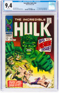 Silver Age (1956-1969):Superhero, The Incredible Hulk #102 (Marvel, 1968) CGC NM 9.4 White pages....