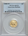 2008-W $5 Tenth-Ounce Gold Buffalo, .9999 Fine Gold MS70 PCGS. PCGS Population: (748). NGC Census: (2554)....(PCGS# 3999...