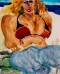 Post-War & Contemporary:Contemporary, Malcolm Morley (1931-2018). Marcia on the Beach andMarcia in a Red Bikini (2 works), 1984. Watercolor on paper(M... (Total: 2 Items)