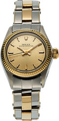 Timepieces:Wristwatch, Rolex, Ref. 6619 Ladies Oyster Perpetual, Yellow Gold and Stainless Steel, with Oyster Rivet Bracelet, Circa 1967. ...