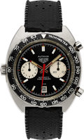 Timepieces:Wristwatch, Heuer, Vintage Autavia Ref. 1163V (Viceroy) Automatic Chronograph, Fourth Execution, Stainless Steel, Circa 1973. ...