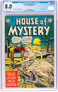 Golden Age (1938-1955):Horror, House of Mystery #1 (DC, 1952) CGC VF 8.0 Off-white to white pages....
