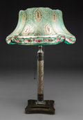 Lighting:Lamps, Pairpoint Enameled Metal and Reverse Painted Glass Puffy Floral Table Lamp. Circa 1920. Shade stenciled The Pa...