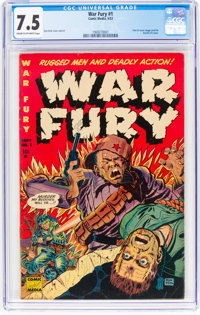 War Fury #1 (Comic Media, 1952) CGC VF- 7.5 Cream to off-white pages