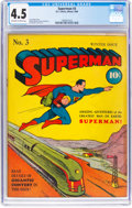 Golden Age (1938-1955):Superhero, Superman #3 (DC, 1940) CGC VG+ 4.5 Off-white to white pages....