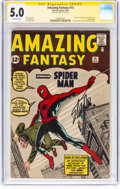 Silver Age (1956-1969):Superhero, Amazing Fantasy #15 Signature Series (Marvel, 1962) CGC VG/FN 5.0 Off-white pages....